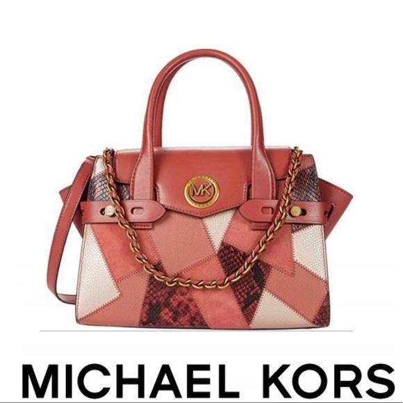 Michael Kors Carmen Leather Flap Satchel Handbag